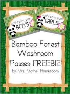Bamboo Forest (Panda Theme) Washroom Passes FREEBIE