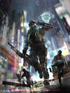 Robot concept art sci fi future soldier 51 Ideas for 2019 Arte Cyberpunk, Cyberpunk City, Cyberpunk 2077, Futuristic Armour, Futuristic Art, Blade Runner, Science Fiction, Space Opera, Cyberpunk Character