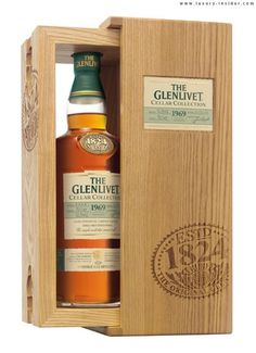 The Glenlivet is unveiling a special treat for single malt scotch lovers, The Glenlivet 1969 Cellar Collection. Whisky Bar, Scotch Whisky, Whiskey Room, Liquor Shop, Wine Display, Wood Wine Racks, Alcohol Bottles, Single Malt Whisky, Bottle Box