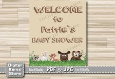 Woodland Welcome Sign Baby Shower - Welcome Baby Shower Sign Brown - Welcome Sign Woodland - Welcome Shower Sign - Custom Baby Sign by DigitalitemsShop on Etsy