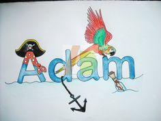 Arte per bambini - Baby Art - pittura ad acquerello - colori a matita - nome personalizzato -fatto a mano - personaggi cartoni - cartoons