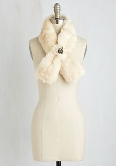 Wrapped in Winsome Faux Fur Stole in Ivory