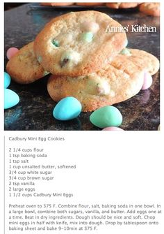 Cadbury Mini Egg Cookies!! Took two attempts because our butter was too soft the first time but we nailed them the second try! Soooo good!!