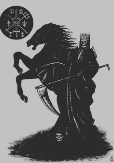 . #death #reaper #horse #illustration #skeleton