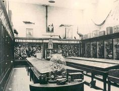The interior of Ludlow Museum at the Buttercross in the Edwardian period.