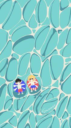 Fish Wallpaper, Tumblr Wallpaper, Anime Kiss, Anime Manga, Banana Art, Wolf Children, Ipad Background, Boy Fishing, Simple Wallpapers