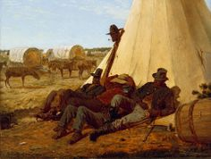 The Bright Side, 1865, is an oil painting by Winslow Homer of three African American Union Army teamsters sitting on the sunny side of a Sibley tent.