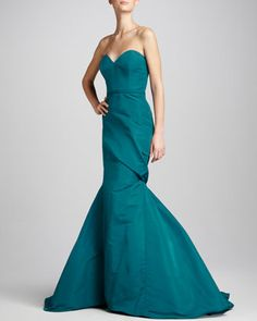 Asymmetric Sweetheart Gown by Pamella Roland at Neiman Marcus.