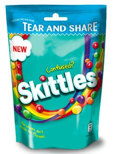 Skittles Confused candy packaging stand up pouch with zipper and die cut handle.  #sachet #plastique  #plastic #bags #standuppouch  #standuppouch #zipper