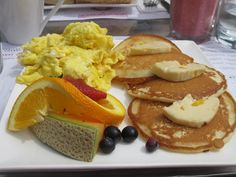 pancake with mango butter large and scrambled eggs