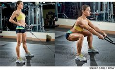 Squat cable row || legs and back workout @molissa83