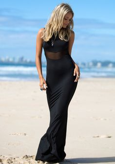 Sheer Mesh Maxi Dress - Black - Sexy Maxi Long Dress