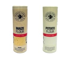 1 x Doves Farm Maize flour (120g) Prepared from wholegrain maize, this finely ground pale yellow flour will add flavour and colour to both sweet and savoury baking. 1 x Doves Farm Potato flour (150g) A starchy flour that can add lightness to your baking, makes a smooth non – gelatinous gravy or sauce.