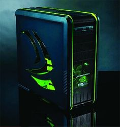 Green and black computer PC tower setup liquid cooled