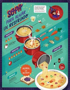 Food infographic Food infographic Sopa para aliviar un resfriado: infografía on Behance Graphic Design Posters, Graphic Design Illustration, Graphic Design Inspiration, Design Blog, Web Design, Design Trends, Timeline Design, Creative Infographic, Infographic Templates