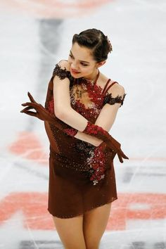 Evgenia Medvedeva of Russia performs in the Ladies Free Skating during the ISU European Figure Skating Championships 2018 at the Megasport Arena in. Kim Yuna, Russian Figure Skater, Figure Skating Costumes, Medvedeva, Ice Skaters, Fashion Figures, Women Figure, Skating Dresses, Ice Queen