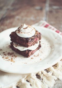 Double Chocolate Raspberry Brownies...Recipe makes 9 brownies at 2 WW Points Plus each.