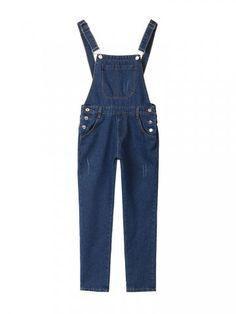 Jeans Gallus Baggy Loose Slim  Button Jumpsuits Pants For Women