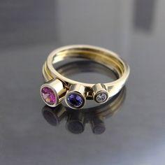 Tanzanit, rodolit i brylant w złocie / BIZOE / Biżuteria / Pierścionki