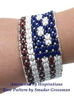 I call this one Americana. The pattern is Dramatic Superduo Bracelet by Smadar Grossman. The color  scheme is mine.