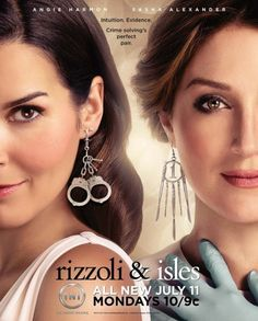 Rizzoli & Isles is a television series starring Angie Harmon as police detective Jane Rizzoli and Sasha Alexander as medical examiner Dr. Maura Isles. The one-hour drama is based on the Rizzoli & Isles series of novels by Tess Gerritsen. Series has been renewed for a 4th Season.
