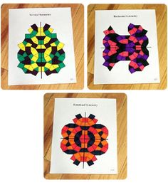 This lesson teaches students how to make symmetrical designs and how to distinguish between vertical symmetry, horizontal symmetry, and rotational symmetry. Symmetry Math, Symmetry Activities, Rotational Symmetry, Art Activities, 4th Grade Art, 3rd Grade Math, Math Projects, Math Crafts, Art Worksheets