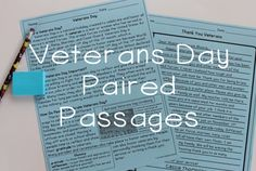 Veterans Day Reading Comprehension Paired Passages and Multiple Choice Comprehension Questions! Great for social studies and reading plans!
