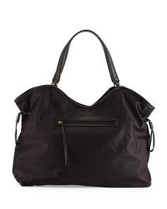 V2JFL Tory Burch Slouchy Nylon Tote Bag, Black