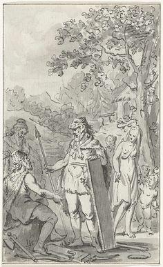 Jacobus Buys | Kleding en wapenrusting van de Bataven, Jacobus Buys, 1784 - 1786 | Krijger en familie van Bataven. Ontwerp voor een prent.