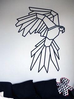 Washi tape wall art for nursery Masking Tape Art, Tape Wall Art, Washi Tape Wall, Tree Wall Decor, Diy Wall Decor, Art Decor, Art Diy, Diy Décoration, Geometric Art
