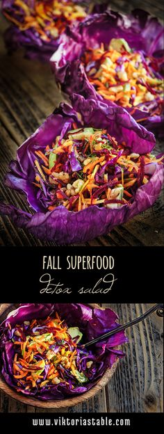 Fall superfood detox salad – loaded with cleansing, and immune-boosting veggies, nuts and herbs, this salad is as vitamin rich and nutritious, as it is delicious!
