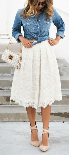 Chambray + lace. Cute outfit idea, although I'd probably opt for flats.