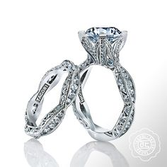In our opinion, this just might be the prettiest engagement ring ever! From the Tacori Engagement Rings, Wedding Bands and Jewelry RoyalT Collection, the piece takes the popular pavé set ribbon band and enhances it with a 3.50 carat round brilliant center diamond. The intricate 4-prong setting mimics a budding flower reaching ultimate beauty. To see more from the Tacori jewelry box, please be sure to visit http://www.cdpeacock.com.