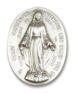 Antique Silver Finish Immaculate Conception Visor Clip