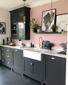 Among kitchen flooring ideas, there's one idea that's simply cooler than the rest, and that's a black kitchen floor. Pink Kitchen Walls, Pink And Grey Kitchen, Kitchen Wall Colors, Home Decor Kitchen, Kitchen Interior, New Kitchen, Kitchen Design, Grey Kitchen Diner, Little Kitchen