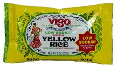 Vigo Low Sodium Saffron Rice - this was the first saffron rice I found that was low sodium, and it doesn't taste that much different from it's much more sodium endowed bretheren.  Only 45mg per cup.  Very good.