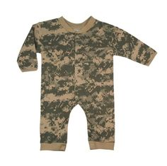 Rothco ACU Digital Infant One Piece in Green - Size 3 to 6 Months: Infants camouflage one piece with snaps down front and legs. Made of cotton. Available in sizes months, months, months, and One Piece Bodysuit, Baby Bodysuit, Camouflage Baby, Camo Baby Stuff, One Piece Suit, Long Sleeve Romper, Girls Rompers, Online Clothing Stores, Sleeves