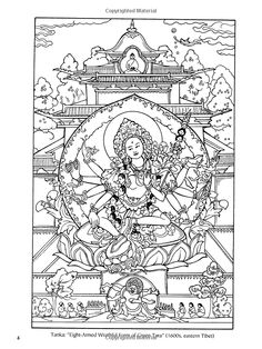 Creative Haven Tibetan Designs Coloring Book Printable Coloring Pages, Colouring Pages, Adult Coloring Pages, Coloring Sheets, Coloring Books, Zentangle, Art Public, Tibetan Art, Thai Art
