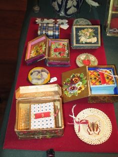 Forget Me Not Antiques September 2016 collection of needle boxes, and pin keeps