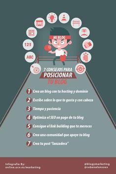 7 consejos para posicionar tu blog. Infografía en español. #CommunityManager