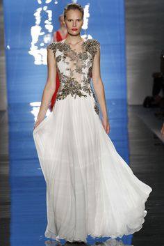 Reem Acra. Spring 2013 Ready to Wear. A burst of silver-grey floral details over white. This is dramatic and stunning and should be worn with much charisma and class.