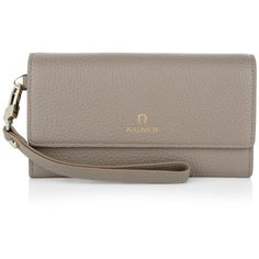 Aigner Small Leather Goods, Ivy Flap Wallet Taupe Wallet (1 735 SEK) ❤ liked on Polyvore featuring bags, wallets, beige, snap closure wallet, loop wallet, real leather wallet, etienne aigner wallet and brown wallet