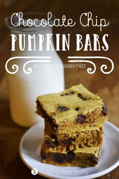 These gooey, delicio  These gooey, delicious Chocolate Chip Pumpkin Bars are gluten-free, dairy-free, egg-free, and have no refined sugar!  RaiasRecipes.com  https://www.pinterest.com/pin/39195459240615012/