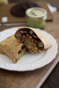Roasted Portabella and Chickpea Burritos with Chimichurri Sauce