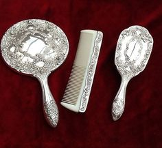vintage dressing table set Vanity hairbrush mirror comb silver plate | eBay