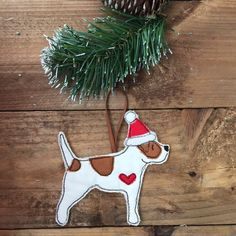 Jack Russell, christmas decoration, fabric, tan and white jack russell terrier, embroidered fabric Christmas Tree Decoration, dog lover gift