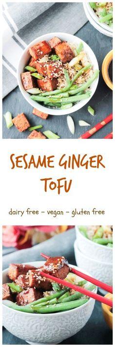 Sesame Ginger Baked Tofu - dairy free, gluten free, vegan