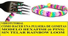 COMO HACER PULSERA HEXAFISH (6 PINS) ¡CON DOS TENEDORES! SIN TELAR TUTORIAL ESPAÑOL DIY Con un telar casero, ¡ CON DOS TENEDORES! MUY FACIL. Pulsera de gomitas (ligas) sin telar ( RAINBOWLOOM. HEXAFISH BRACELET o FISHTAIL OF 6 PINS).  Idea regalo de navidad, cumpleaños, San Valentín...chica,  para novia, amiga o madre o chico, para novio, amigo o padre (cambia los colores y materiales para adaptarla a sus gustos)