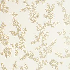 Shadow Fern Floral Wallpaper Gold shadow fern print on cream wallpaper.