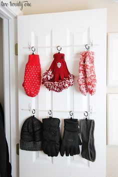 Coat Closet Accessory Organization - click for DIY instructions and supplies